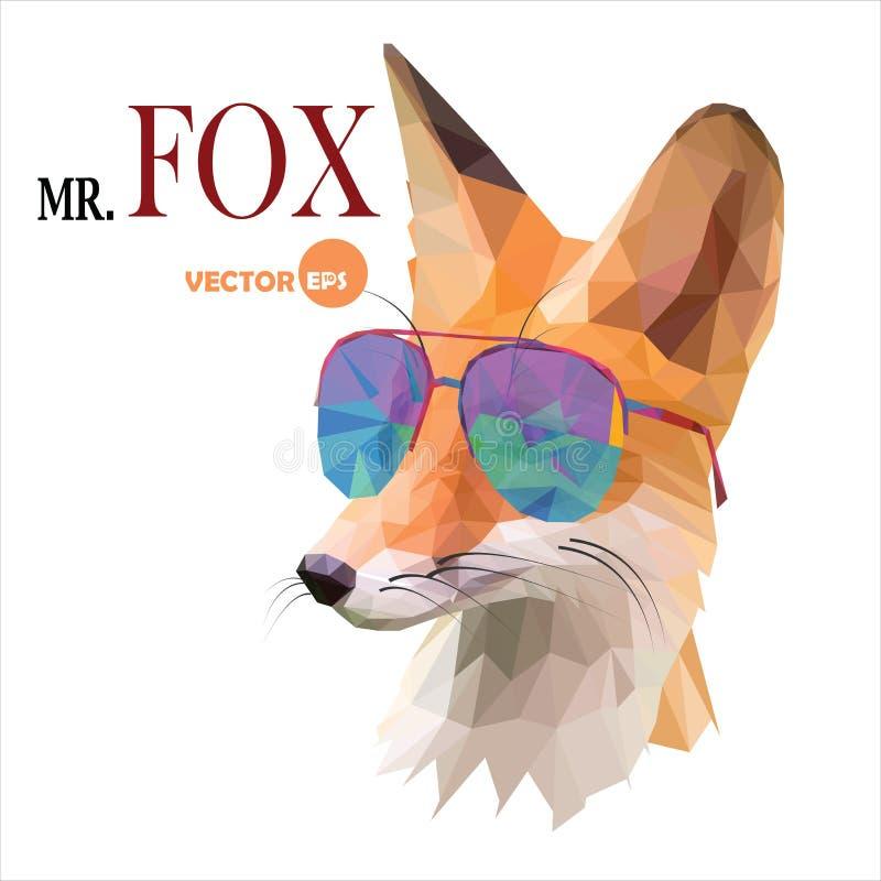 Vosmens, M. De vos in zonnebril, stedelijke stadsstijl, hipster kijkt close-up van het manier het dierlijke portret op de witte a stock illustratie