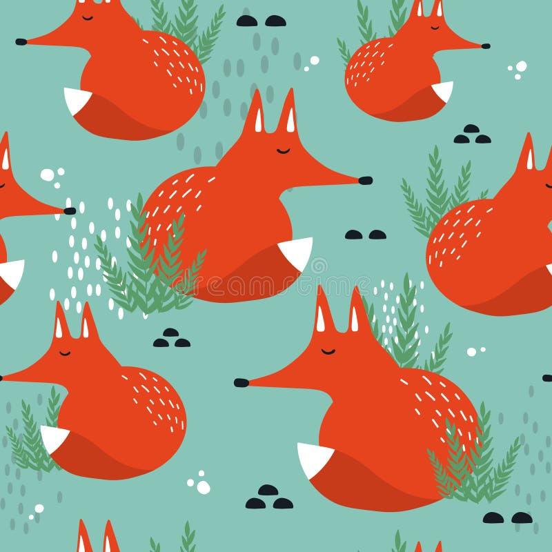 Vossen en installaties, kleurrijk naadloos patroon Decoratieve leuke achtergrond met dieren vector illustratie
