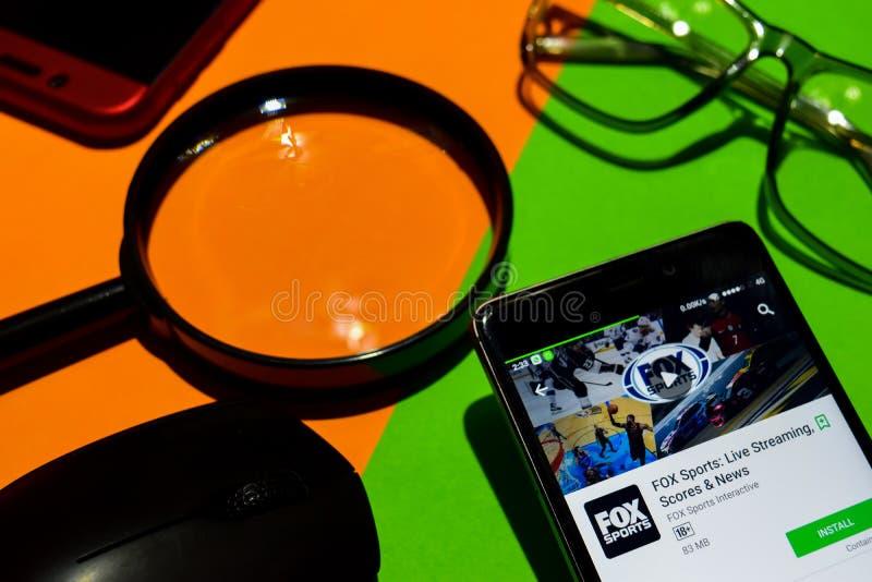 VOSsporten: Live Streaming, scores & Nieuws dev app op Smartphone-het scherm stock afbeelding