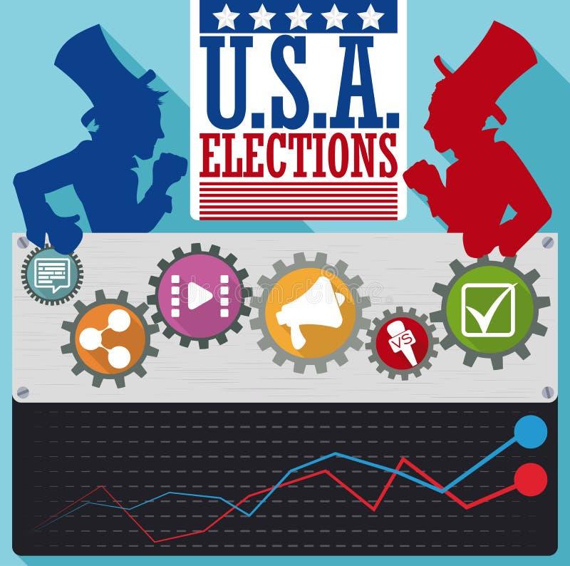Votação dos candidatos dos partidos americanos com ícones da campanha politica, ilustração do vetor ilustração royalty free