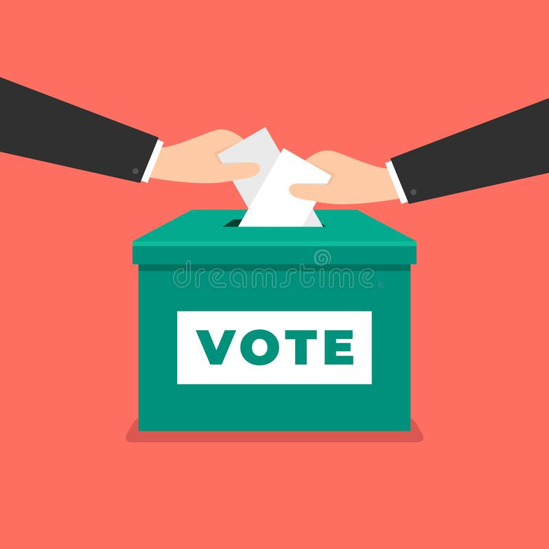 Votación de la marca de verificación del voto Mano del hombre de negocios que pone el papel de votación en la urna Concepto de vo libre illustration