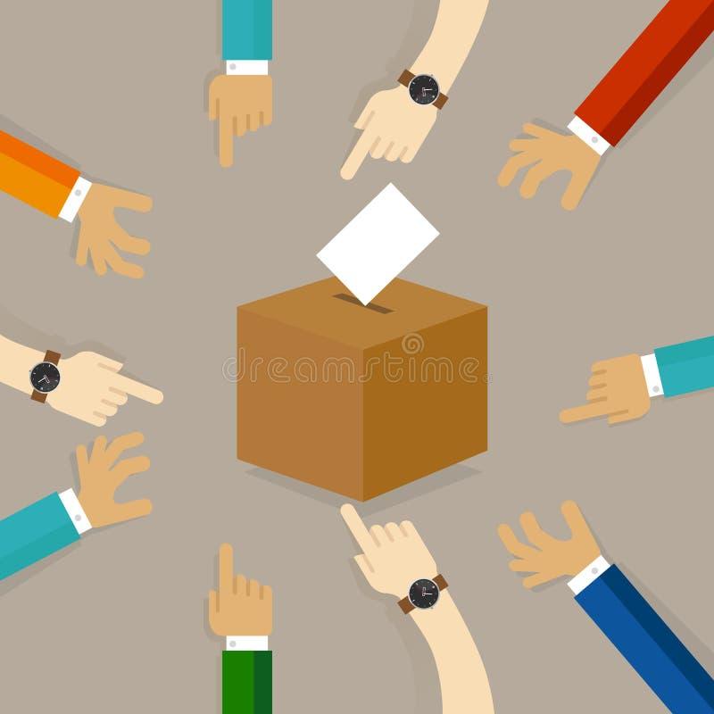 Votación o elección de votación la gente echó su papel del parte movible del voto su opción en la caja concepto de participación stock de ilustración