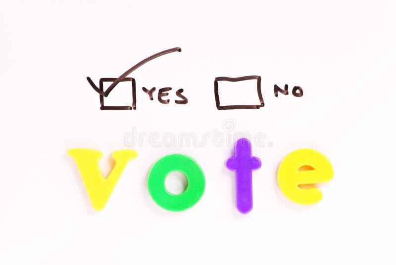 Votación sí fotografía de archivo libre de regalías