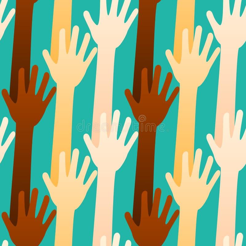 Votando ou oferecendo o fundo sem emenda das mãos ilustração stock