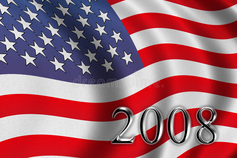 Vote 2008. American flag waving in the wind stock illustration