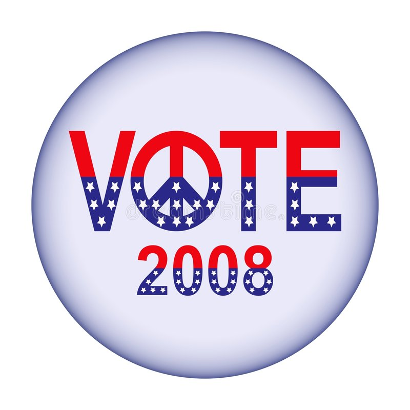 Vote 2008 button. Vector of button with wording 'vote 2008' in design based on USA flag. The 'O' in vote is replaced by a peace sign vector illustration