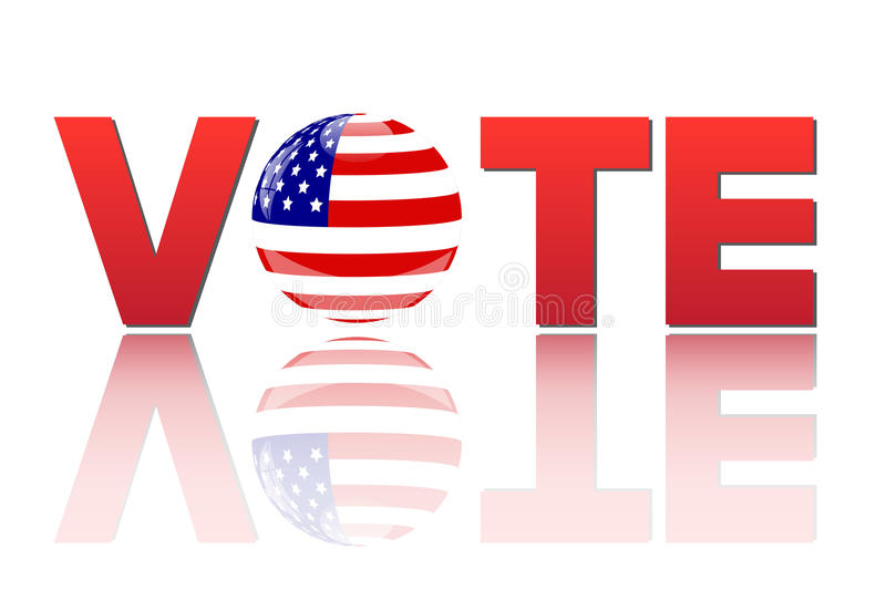Vote America. Image of the word vote with the flag of the United States of America on a white background vector illustration