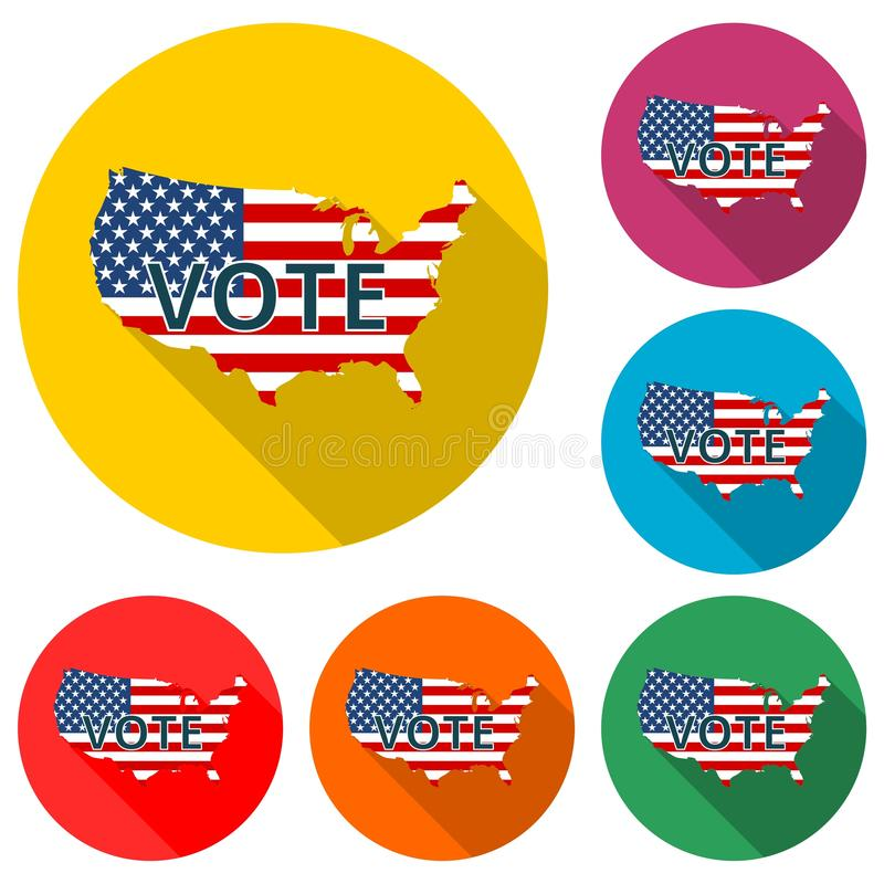 Vote American flag concept icon or logo, color set with long shadow stock illustration