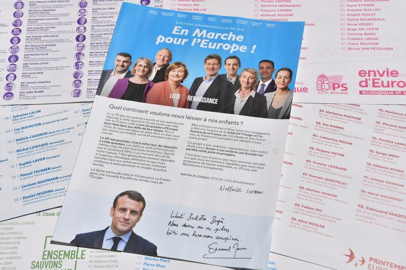 Vote ballots, for the European elections of May 26, 2019. Marseille, France - May 22, 2019 : The first vote ballots, for the European elections of May 26, 2019 royalty free stock photography