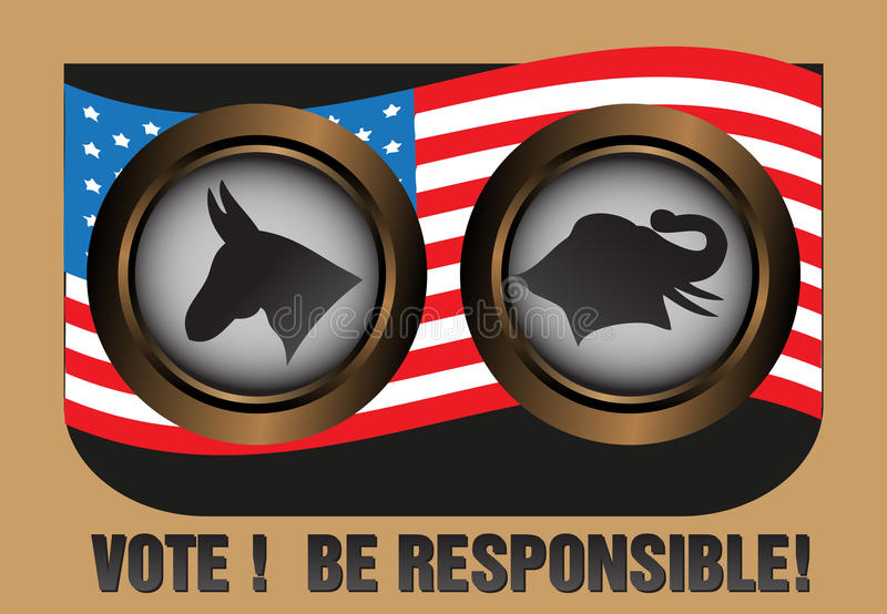 Vote and be responsible. Abstract colorful background with the two major party symbols in United States, the Democratic and the Republican Party. Election theme vector illustration