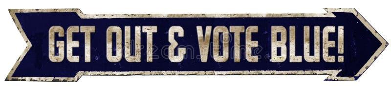 Vote Blue Democrat Sign Arrow. Democrats Democratic American Election USA congress senate president house or representatives state royalty free illustration