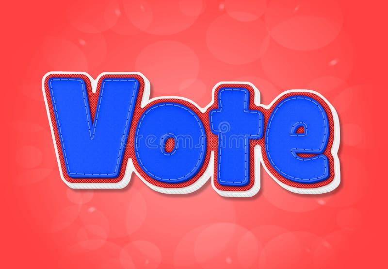 Vote. Blue Vote word in 3D on red background vector illustration