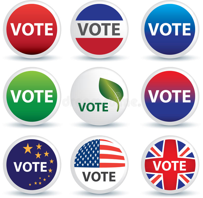 Vote buttons or badges stock illustration