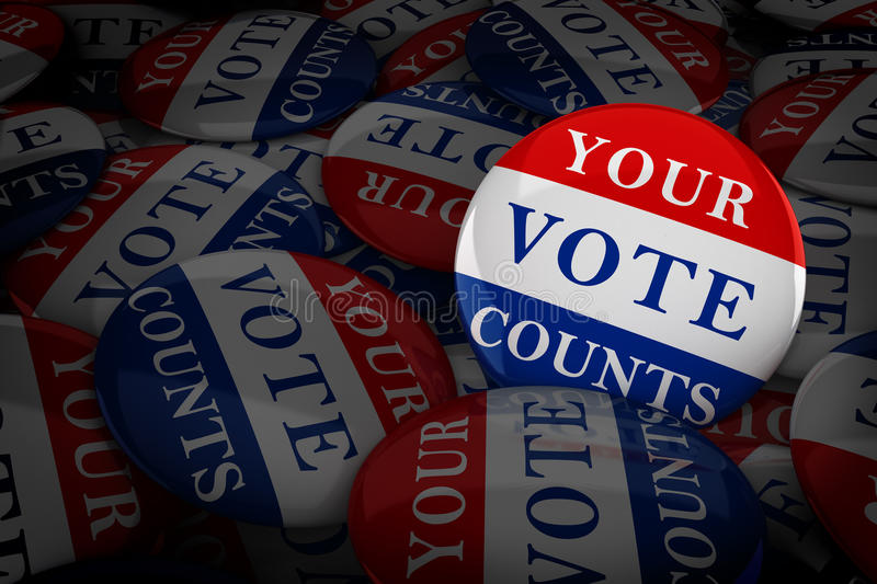Vote buttons in red, white, and blue with stars stock illustration