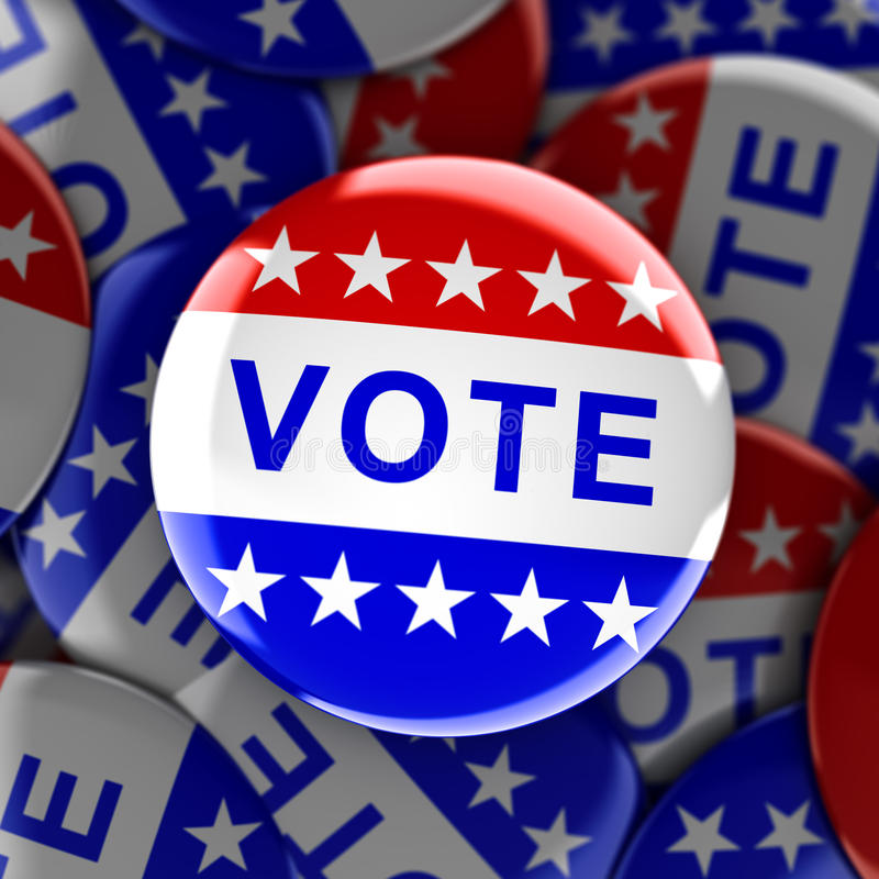 Vote buttons in red, white, and blue with stars vector illustration
