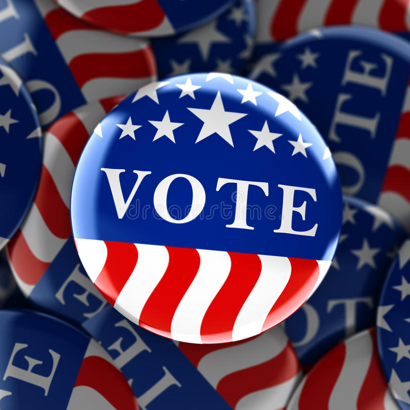 Vote buttons in red, white, and blue with stars royalty free illustration