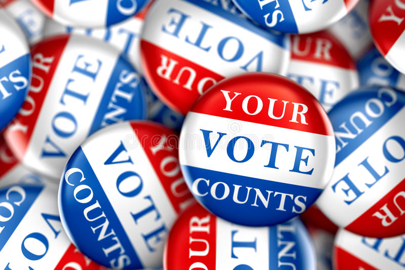 Vote buttons with Your Vote Counts vector illustration