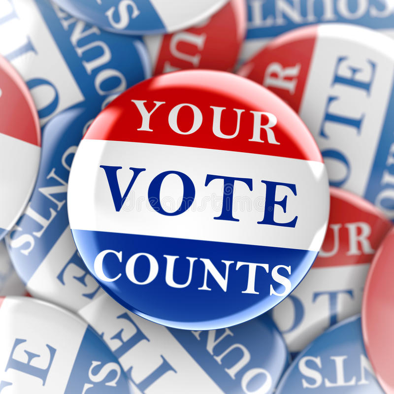 Vote buttons with Your Vote Counts royalty free illustration