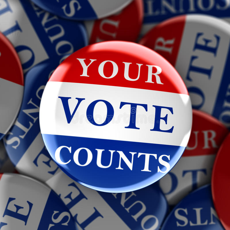 Vote buttons with Your Vote Counts. 3d rendering vector illustration