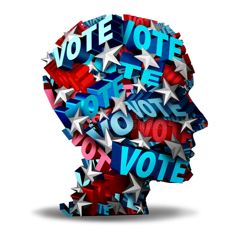 Vote Concept. And voting symbol as a group of 3D illustration text and stars representing a voter or candidate for an election in the USA as an icon for the vector illustration