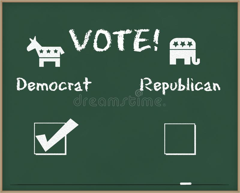 Vote Democrat with Election symbols royalty free stock images