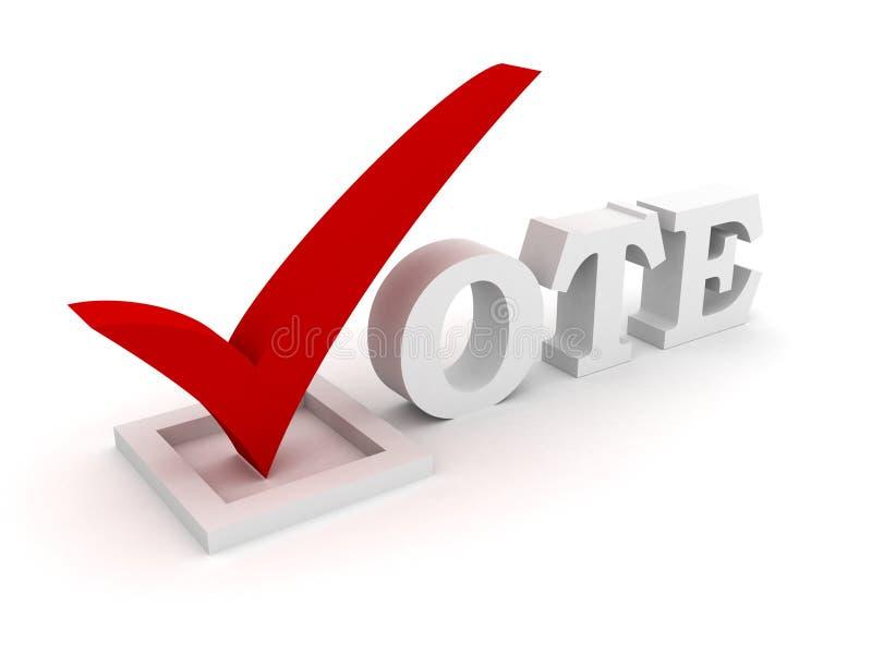 Vote el texto con el rectángulo de la marca de verificación y de verificación libre illustration