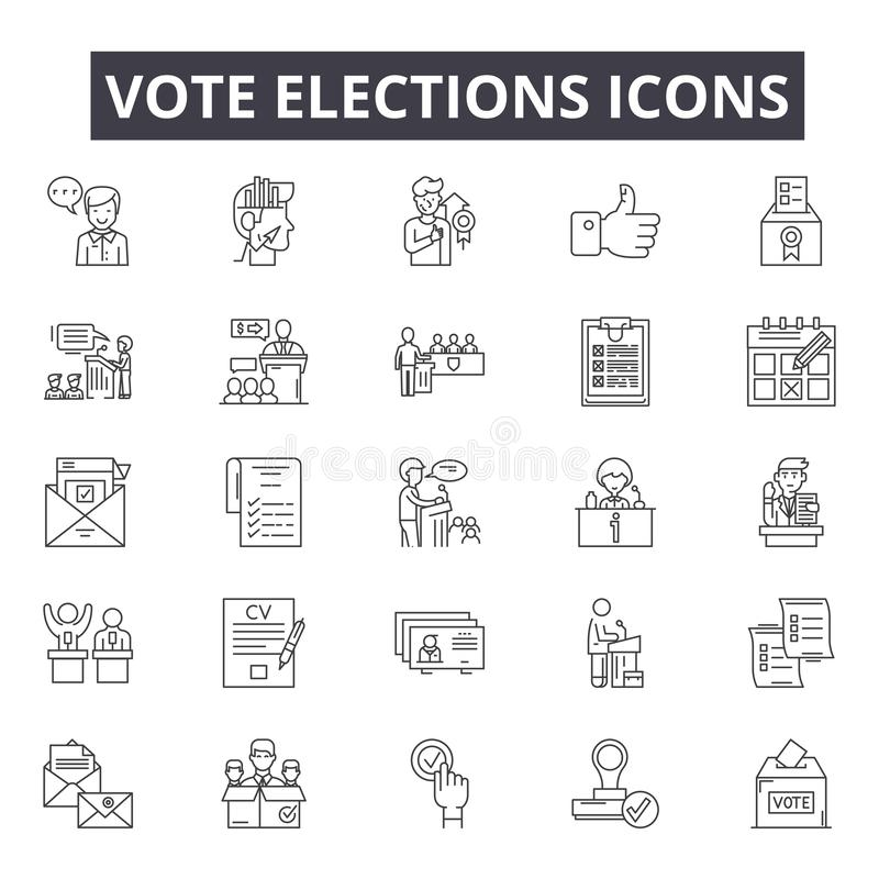 Vote elections line icons, signs, vector set, outline illustration concept royalty free illustration