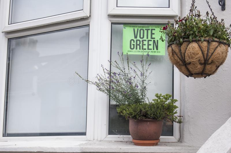 Vote Green, Window Sign stock photography