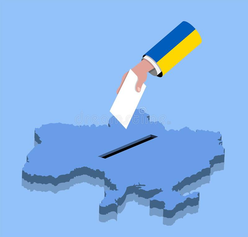 Vote with hand for Ukrainian election over a Ukraine map. All the objects, shadows and background are in different layers stock illustration