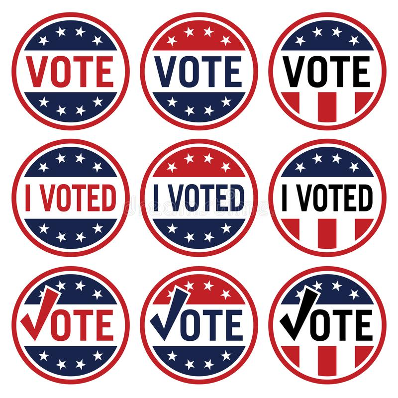 Vote and I Voted political election logo set in red white and blue isolated vector illustration stock photos