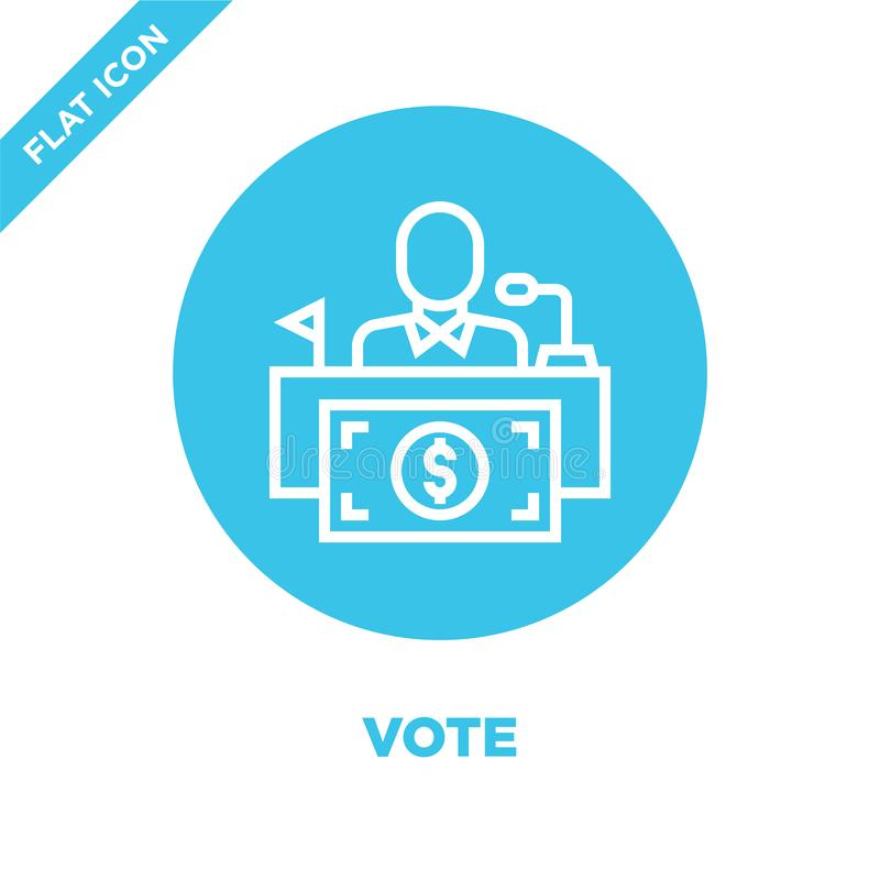 vote icon vector from corruption elements collection. Thin line vote outline icon vector  illustration. Linear symbol for use on royalty free illustration