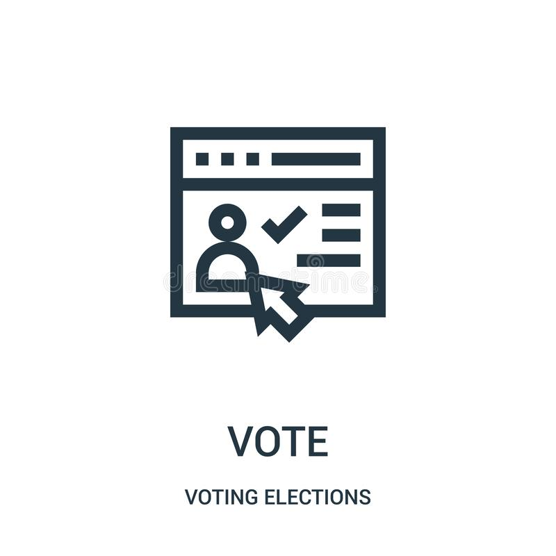 vote icon vector from voting elections collection. Thin line vote outline icon vector illustration stock illustration