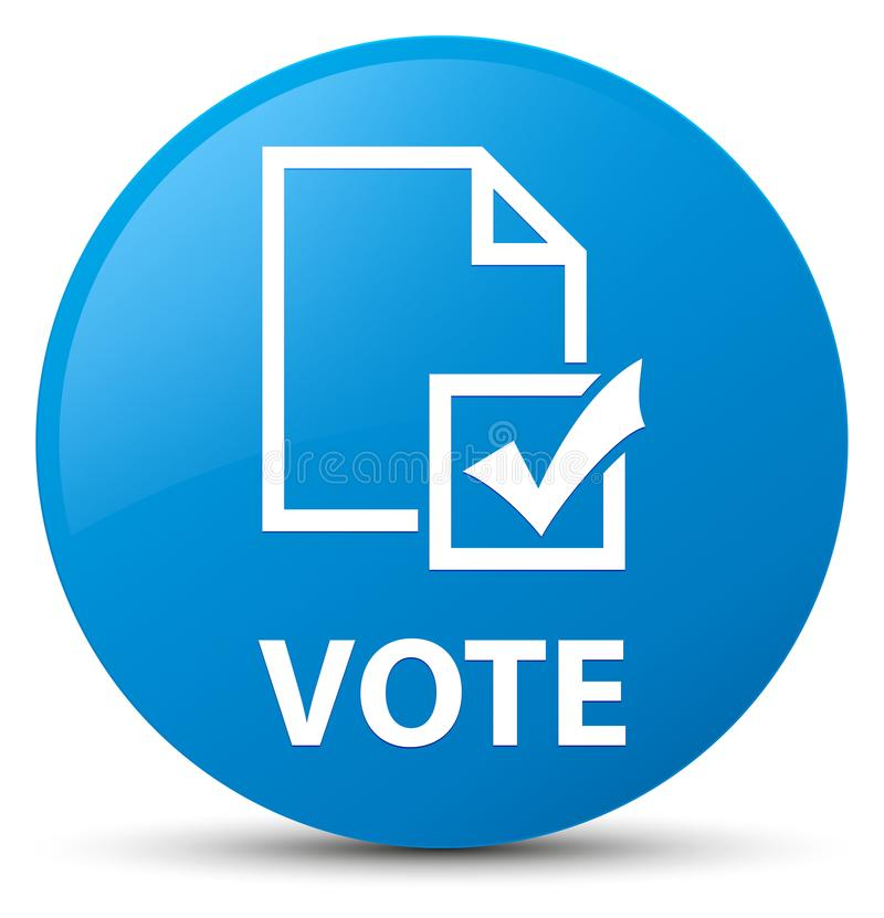 Vote (icono de la encuesta) el botón redondo azul ciánico stock de ilustración