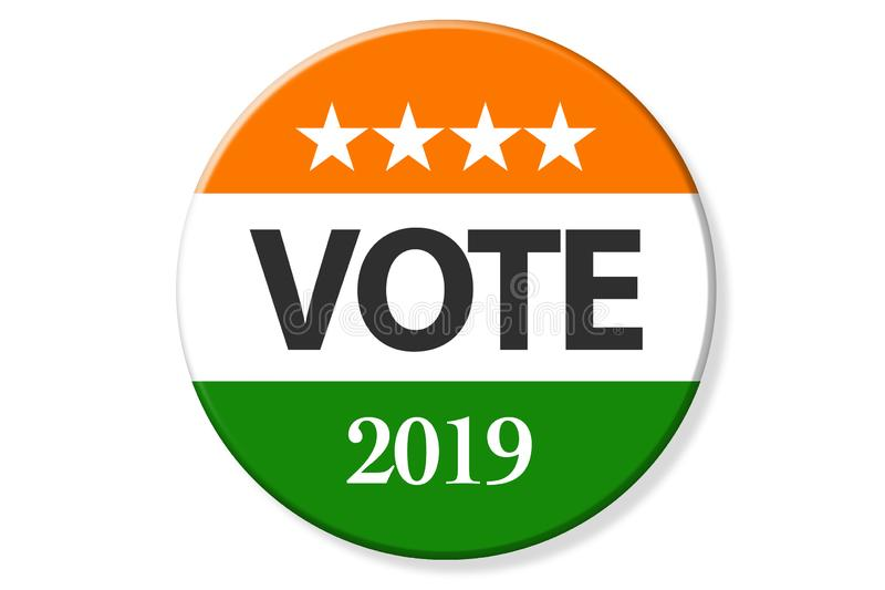 India elections. Vote India on badge, and India flag and stars vector illustration