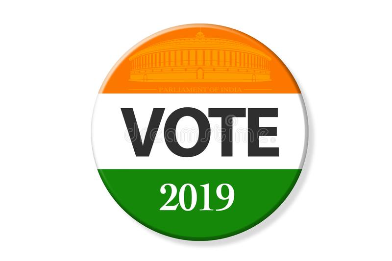 India elections. Vote India on badge, and India Parliament and Flag stock illustration