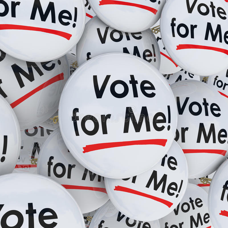 Vote for Me Buttons Pins Election Candidate Support Campaigning vector illustration