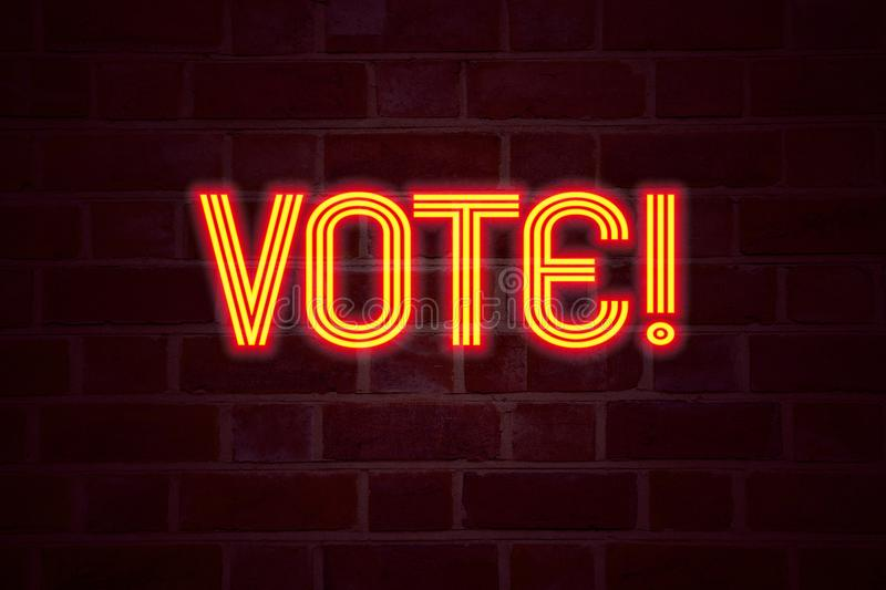 Vote neon sign on brick wall background. Fluorescent Neon tube Sign on brickwork Business concept for Voting Electoral Vote 3D ren. Dered Front View stock images