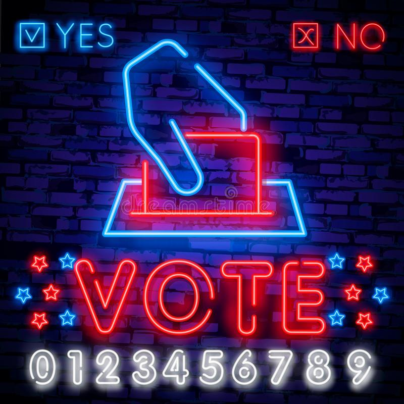 Vote neon sign . Election Design template neon sign, light banner, neon signboard, nightly bright advertising, light stock illustration
