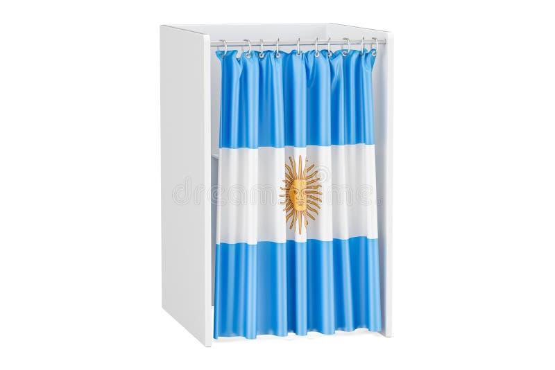Vote no conceito de Argentina, cabina de voto com bandeira de Argentina, 3D ilustração do vetor