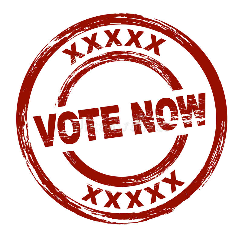 Vote now. A stylized red stamp that shows the term vote now. All on white background royalty free illustration
