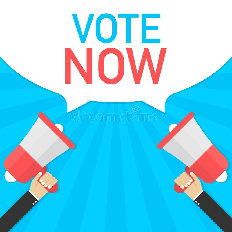 Vote now - advertising sign with megaphone. Vector illustration. stock illustration