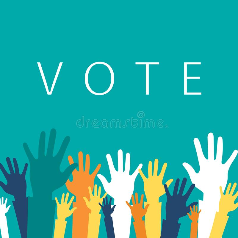 Vote now concept. Colorful up hands icon. Flat vector stock illustration