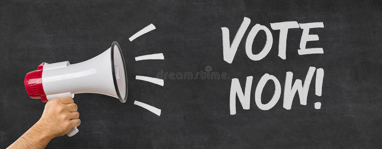 Vote now. A man holding a megaphone - Vote now stock image