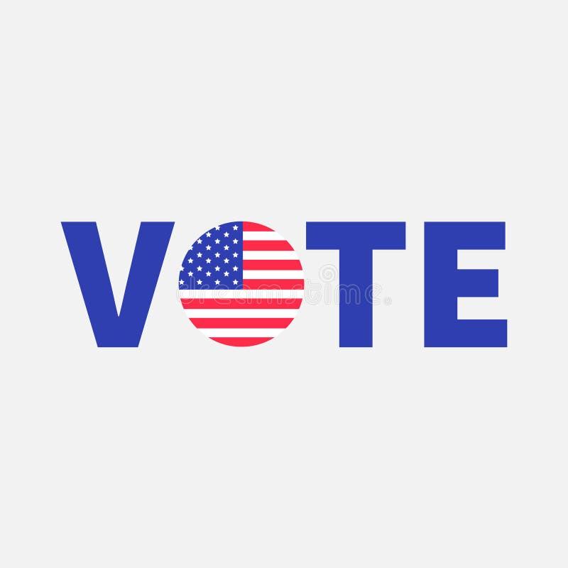 Vote o ícone azul do botão do crachá do texto com a estrela da bandeira americana ilustração do vetor