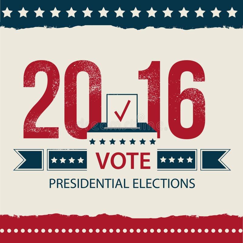 Vote o cartão da eleição presidencial, projeto do cartaz da eleição presidencial Cartaz da eleição presidencial de 2016 EUA ilustração royalty free