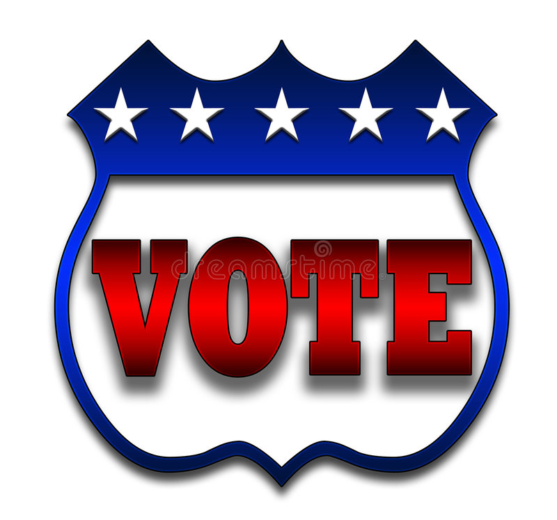 Vote o emblema ilustração stock