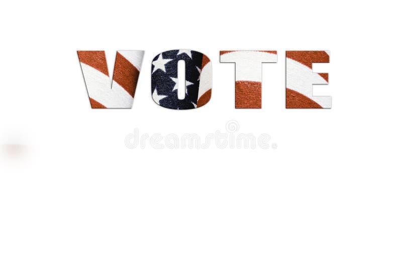 Vote o texto na bandeira americana com estrelas e tiras; conceito de votação; conceito do patriotismo foto de stock royalty free