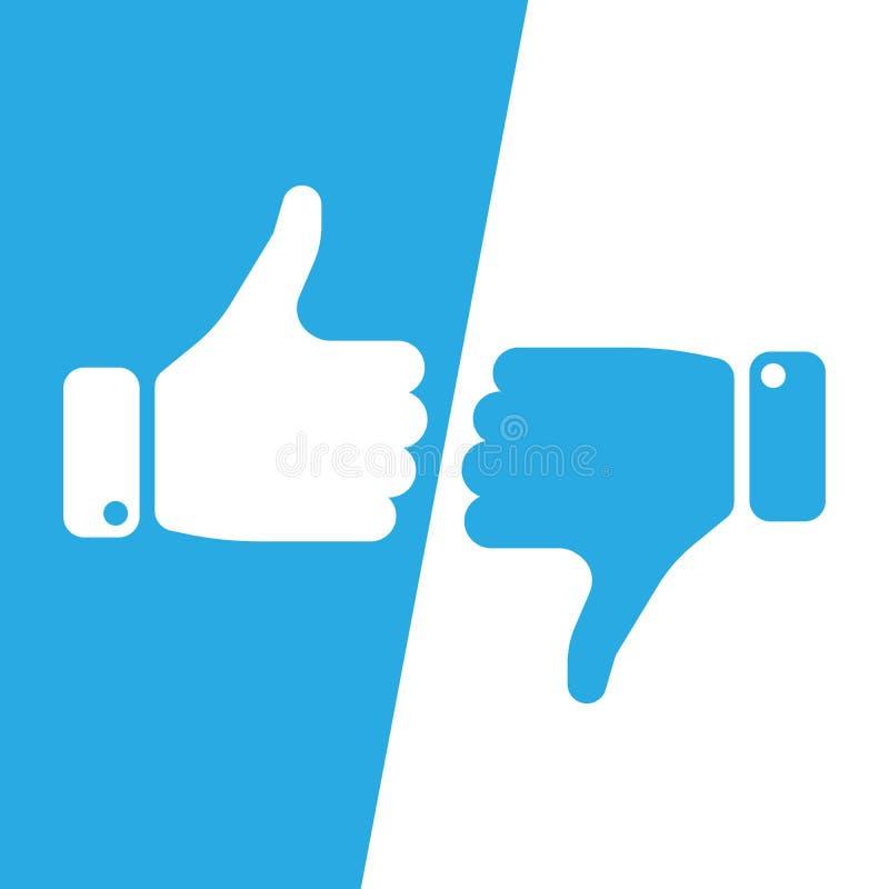 Vote os polegares acima do ícone em campos inversos azuis e brancos Faça uma escolha, sim ou não, ame-o ou odeie-o a vitória ele, ilustração royalty free