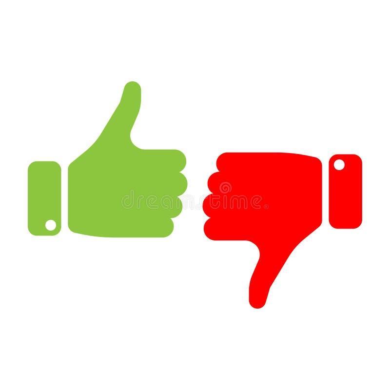 Vote os polegares acima do ícone no vermelho e no verde Faça uma escolha, sim ou não, ame-a ou odeie-a perda, como ou vitória do  ilustração stock