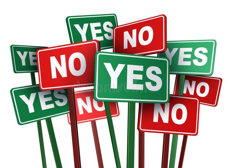 Vote oui ou non illustration libre de droits